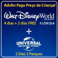 COMBO BLACK FRIDAY Walt Disney World (4 + 2) + Universal Orlando - Tudo à Preço de Criança!